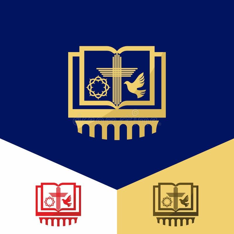 Kerkembleem Christelijke symbolen Bijbel, kroon van doornen, het kruis van Jesus en de Heilige Geest een duif stock illustratie