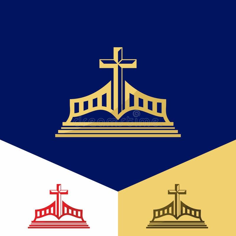 Kerkembleem Christelijke symbolen De Bijbel en het gezag van het kruis van Jesus ` vector illustratie