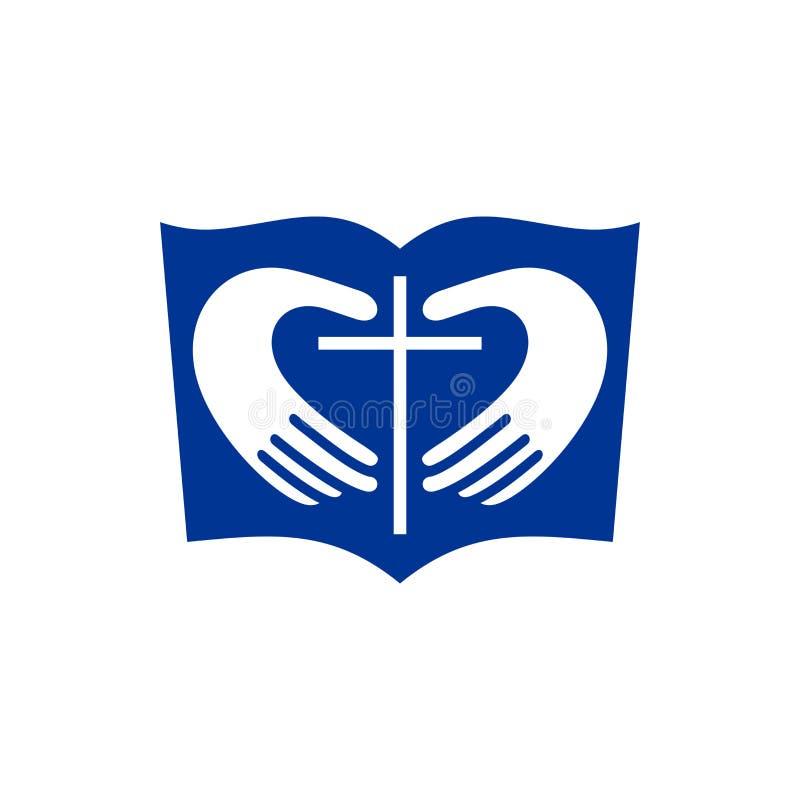 Kerkembleem Christelijke symbolen De Bijbel, handen die het hart en het kruis van Jesus vormen vector illustratie
