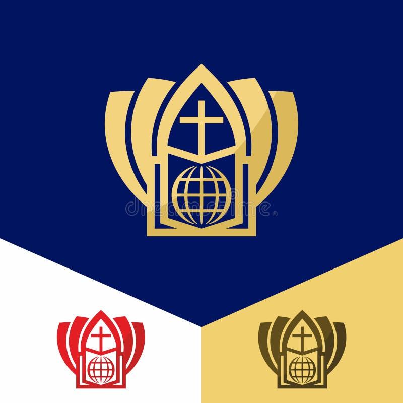 Kerkembleem Christelijke symbolen De Bijbel, het kruis van Jesus, redding van de wereld royalty-vrije illustratie