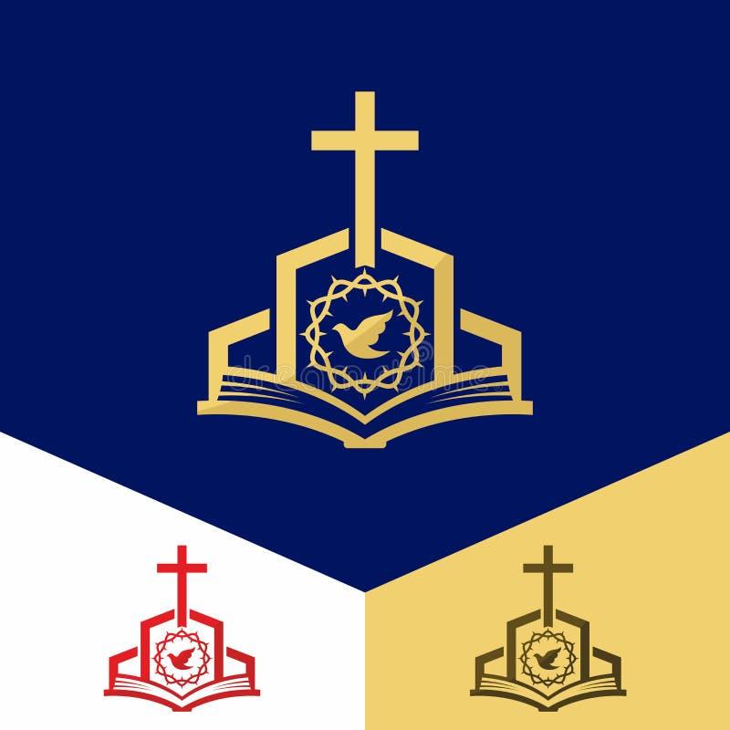 Kerkembleem Christelijke symbolen De Bijbel, het kruis van Jesus, redding van de wereld van sinChurchembleem Christelijke symbole royalty-vrije illustratie