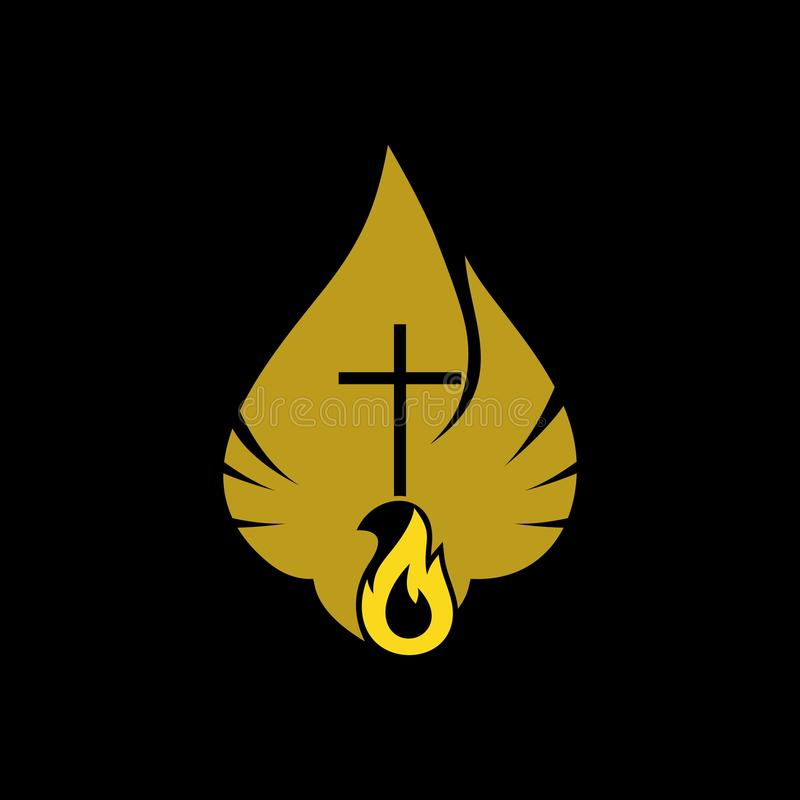 Kerkembleem Christelijke symbolen De Duif en de Vlam van de Heilige Geest, het Koninkrijk van God vector illustratie