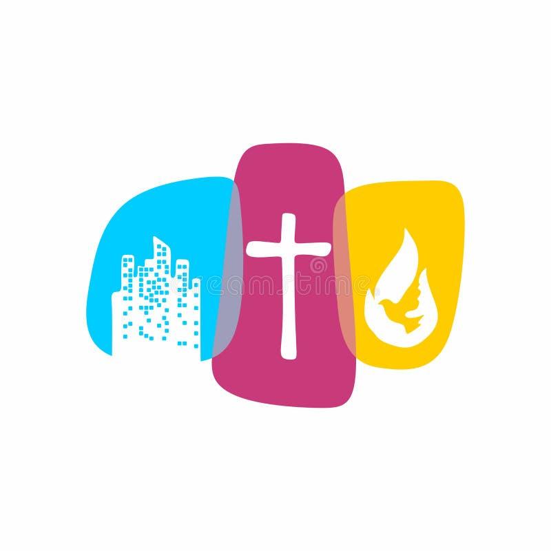 Kerkembleem Christelijke symbolen De stad en het kruis van Jesus Christ, de vlam van de Heilige Geest en de duif vector illustratie