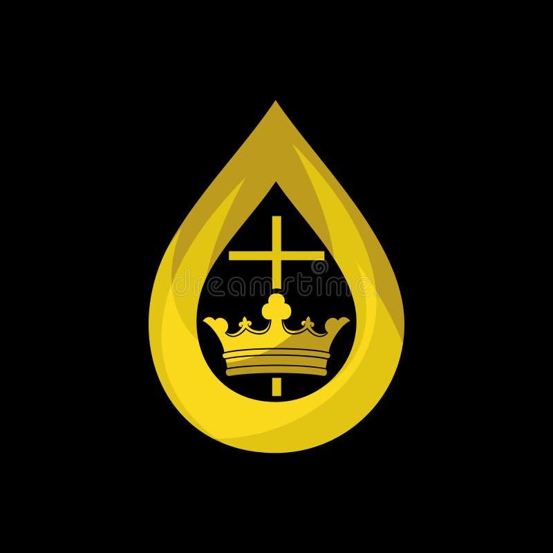 Kerkembleem Christelijke symbolen De Vlam van de Heilige Geest en het Koninkrijk van God royalty-vrije illustratie