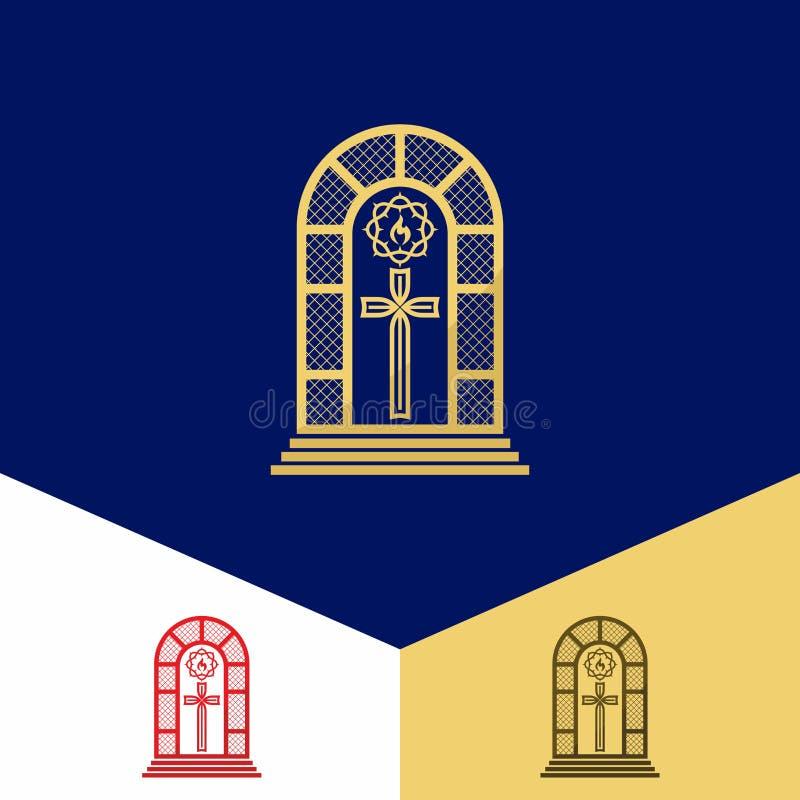 Kerkembleem Christelijke symbolen Gebrandschilderd glas, het kruis van Jesus, kroon van doornen en vlam - een symbool van de Heil vector illustratie