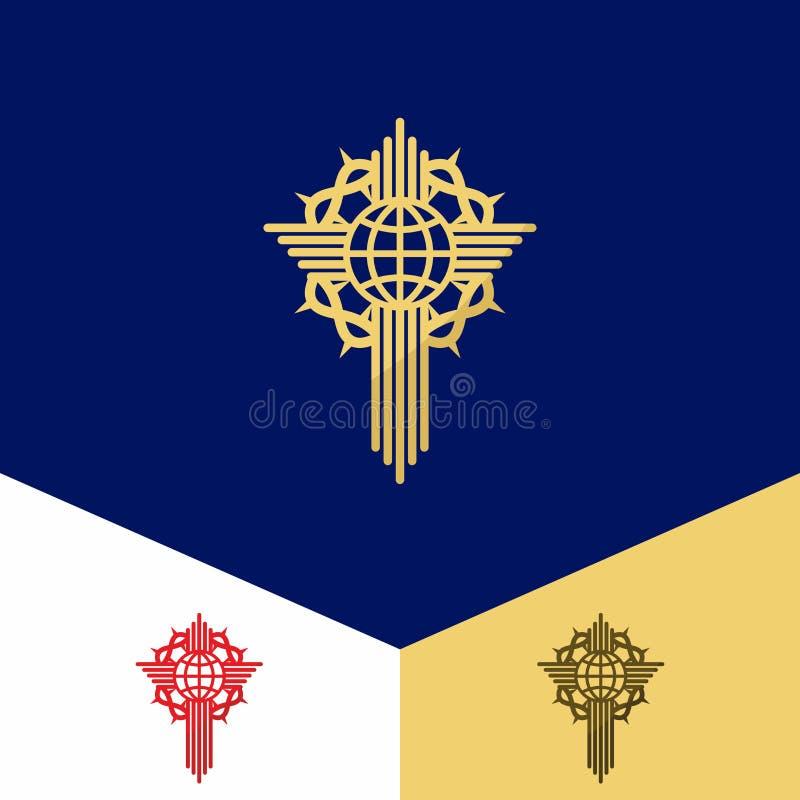 Kerkembleem Christelijke symbolen Het kruis van Jesus, bol en een kroon van doornen royalty-vrije illustratie