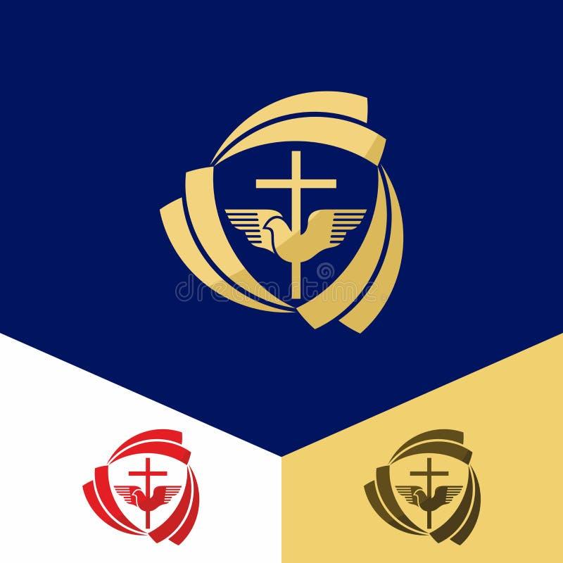 Kerkembleem Christelijke symbolen Het kruis van Jesus Christ en de duif van de Heilige Geest vector illustratie
