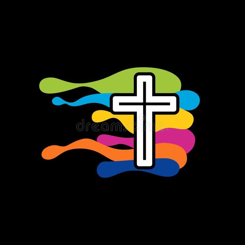 Kerkembleem Christelijke symbolen Het kruis van Jesus en de gekleurde golven vector illustratie