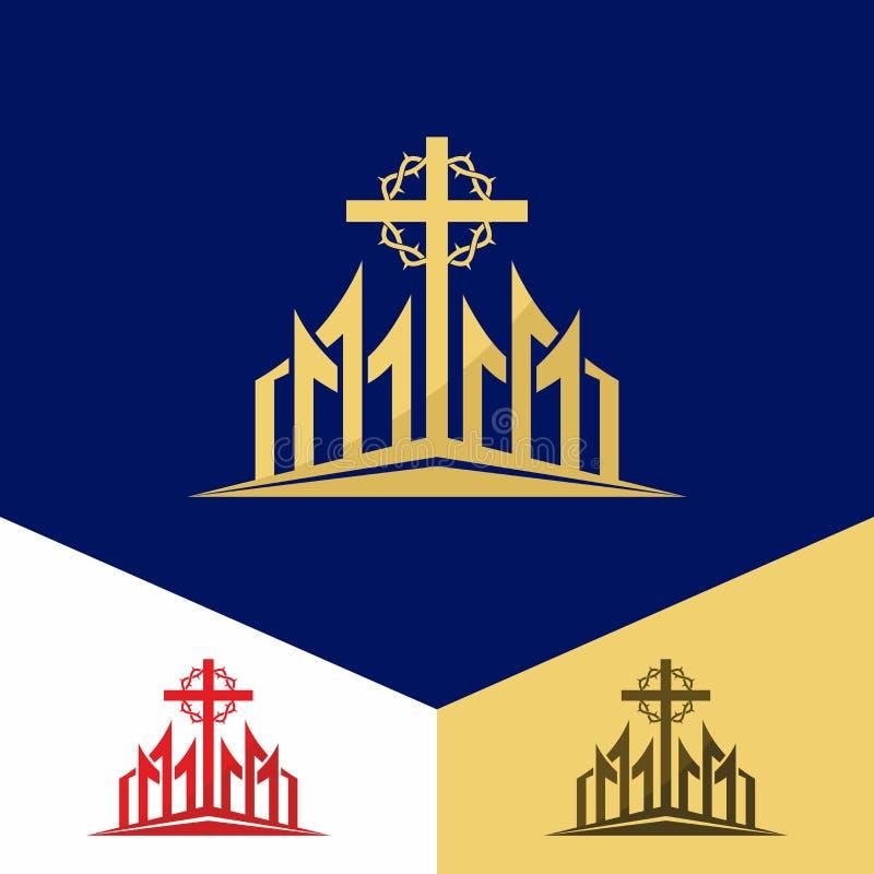 Kerkembleem Christelijke symbolen Het kruis van Jesus en de kroon van doornen vector illustratie