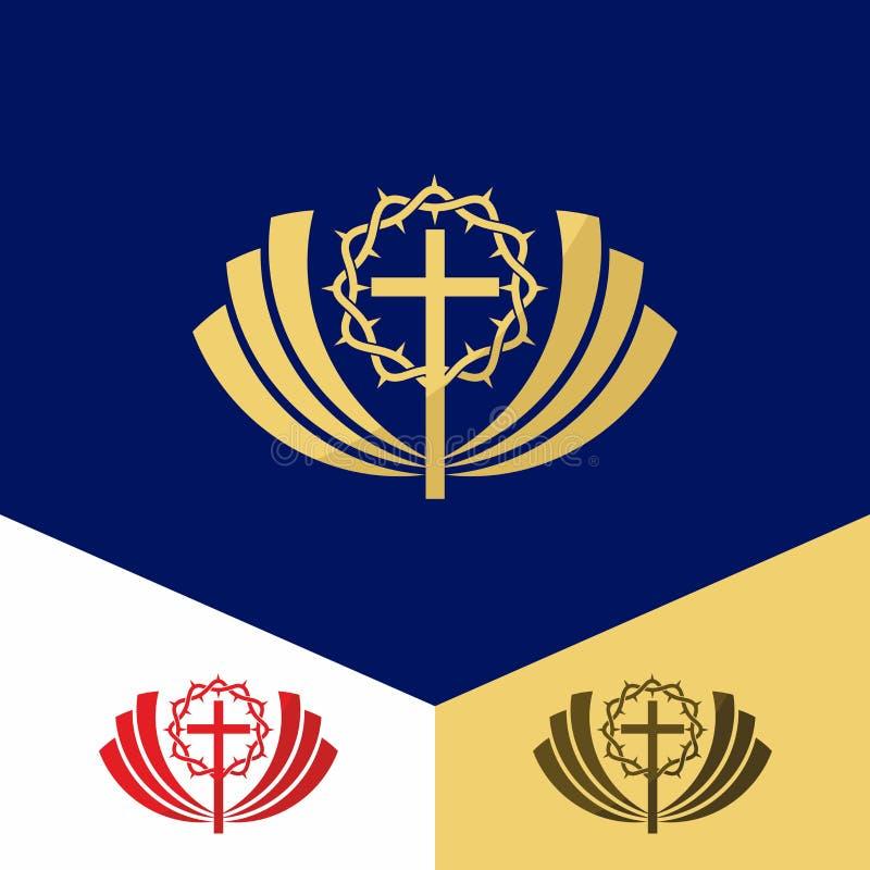 Kerkembleem Christelijke symbolen Het kruis van Jesus en de kroon van doornen royalty-vrije illustratie