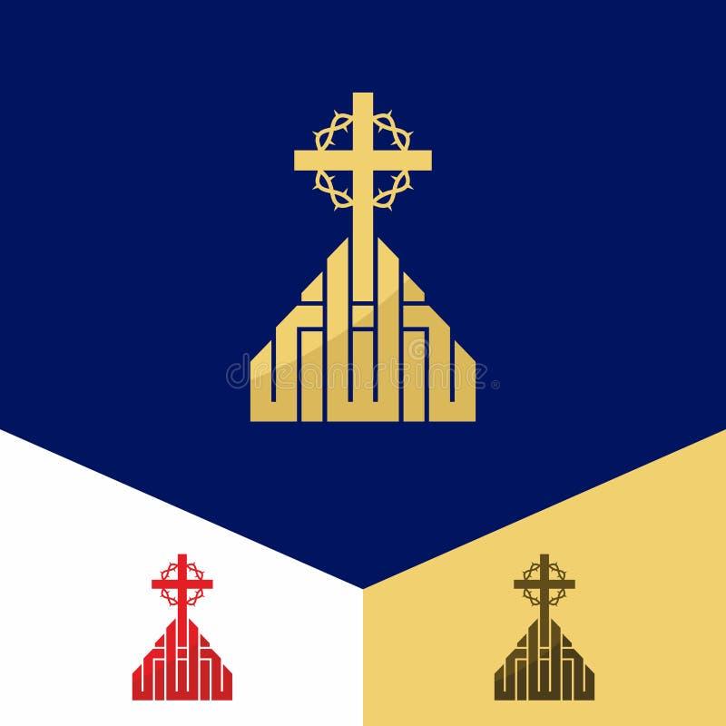 Kerkembleem Christelijke symbolen Het kruis van Jesus en een kroon van doornen stock illustratie