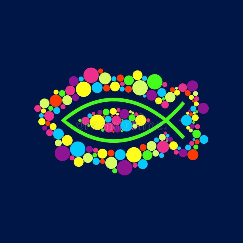Kerkembleem Christelijke symbolen Vissen - het symbool van Jesus Christ stock illustratie
