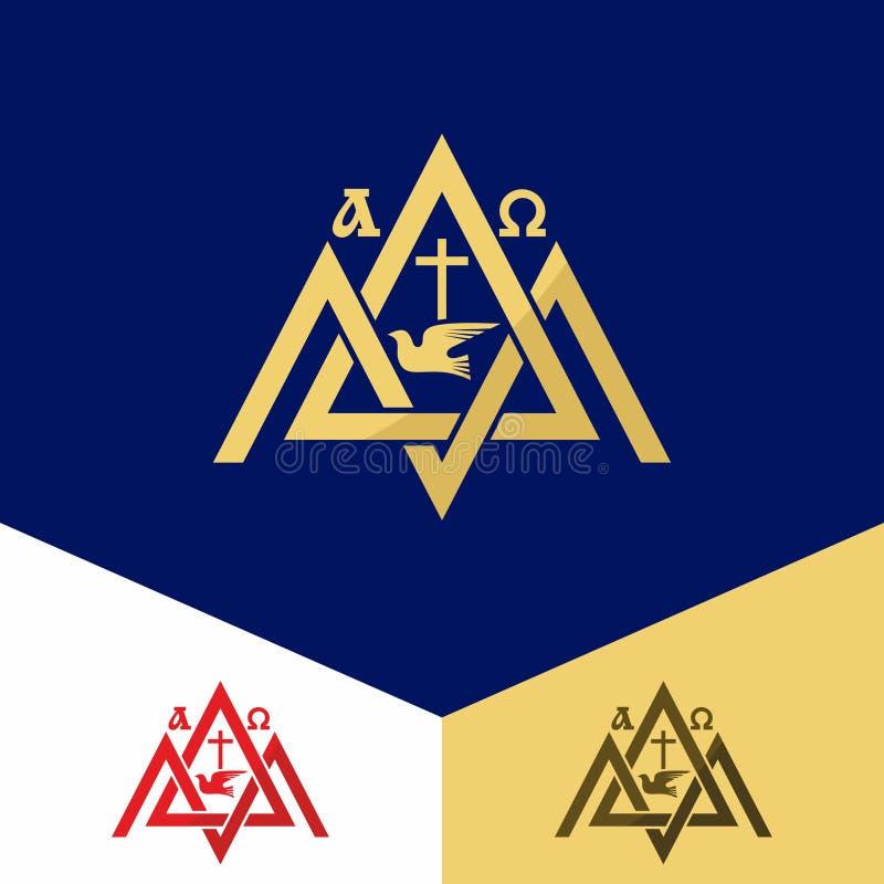 Kerkembleem Christelijke symbolen Zet Zion, alpha- en omega op, het kruis van Jesus Christ vector illustratie
