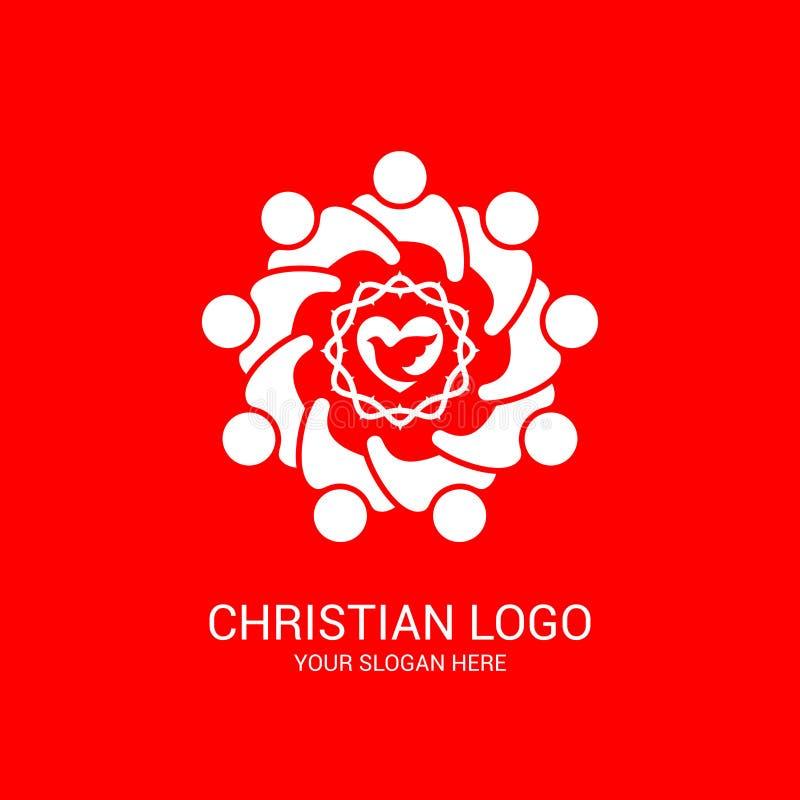 Kerkembleem en bijbelse symbolen De eenheid van gelovigen in Jesus Christ, de verering van God royalty-vrije illustratie