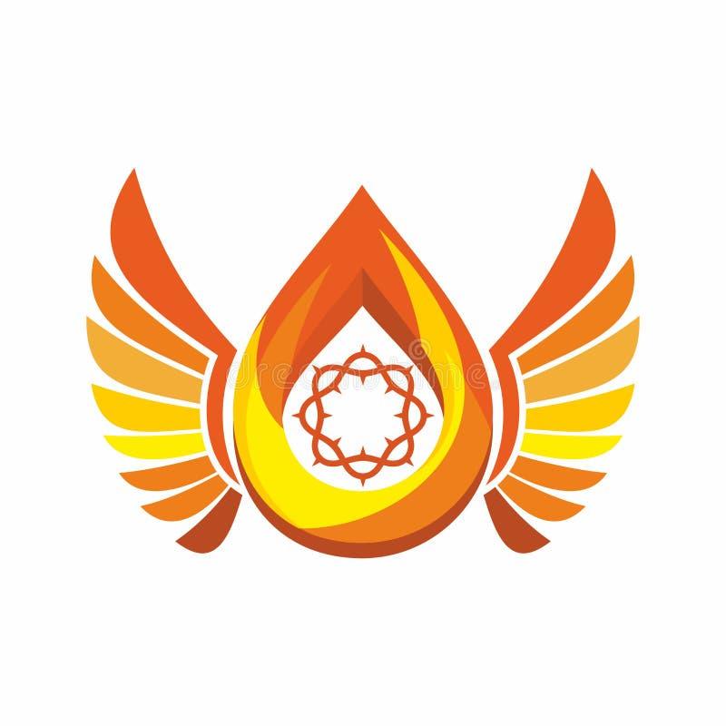 Kerkembleem Kroon van Doornen, de vlam van de Heilige Geest, engelenvleugels stock illustratie