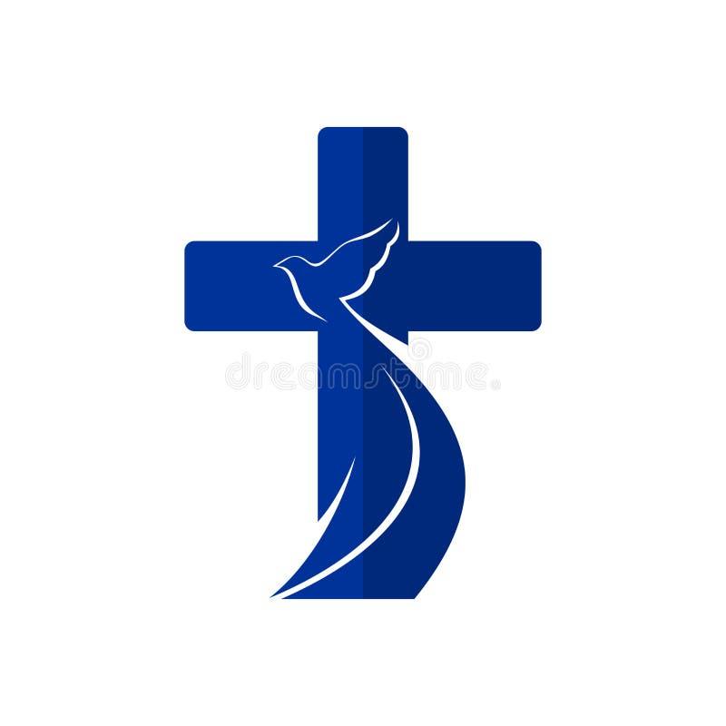 Kerkembleem Kruis en duif, symbool van de Heilige Geest royalty-vrije illustratie