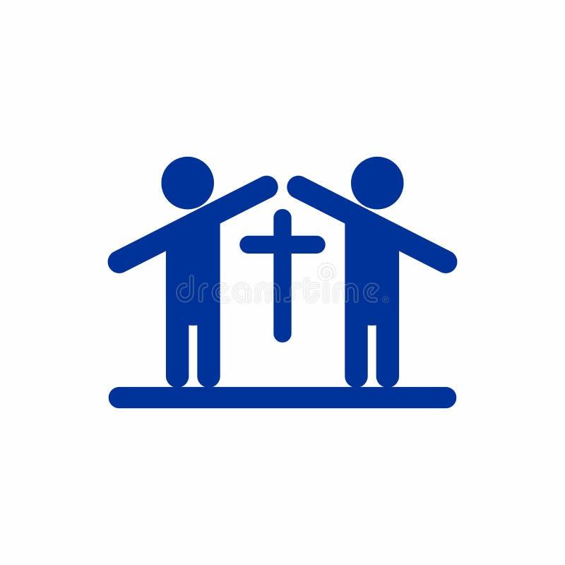 Kerkembleem Mensen die een kerk vormen vector illustratie
