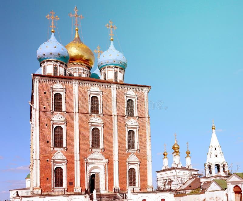 Kerken van Ryazan het Kremlin stock afbeeldingen