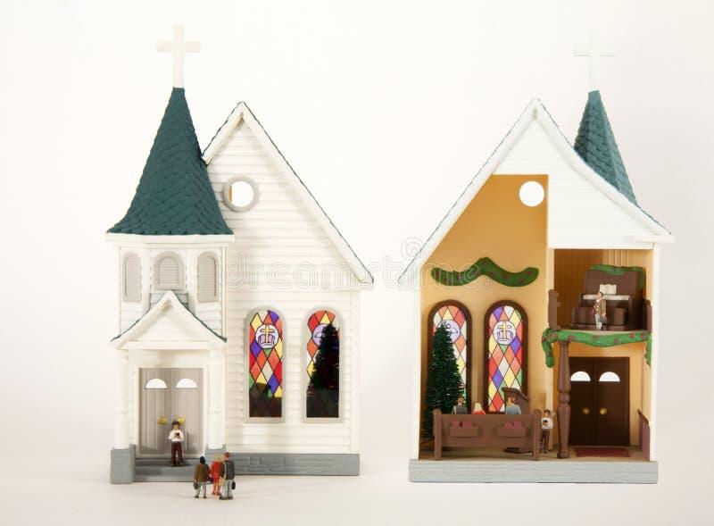 Kerkgangers stock fotografie