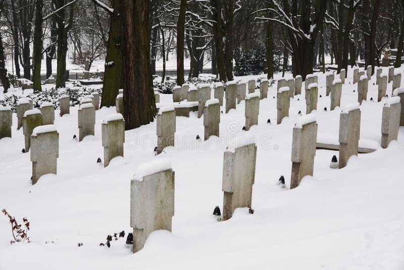 Kerkhof in de winter royalty-vrije stock foto's