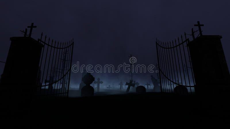 Kerkhof met oude poort, mist en regen royalty-vrije illustratie