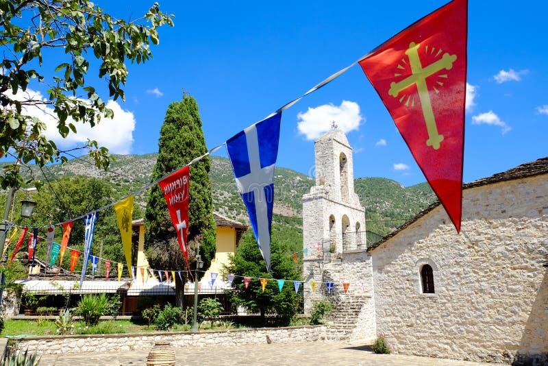 Kerkklokketoren op het Eiland Ioannina, meer Ioannina, Epir stock foto