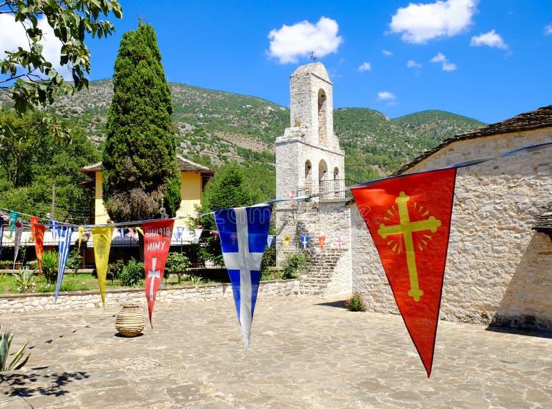 Kerkklokketoren op het Eiland Ioannina, meer Ioannina, Epir royalty-vrije stock foto
