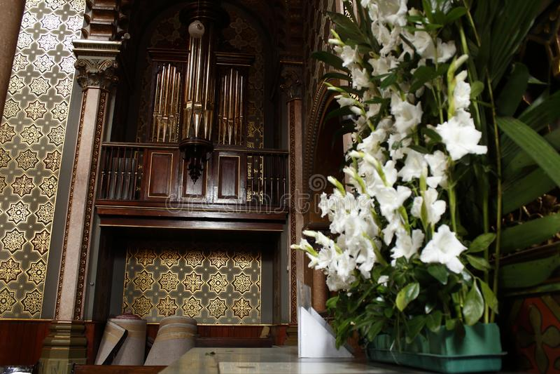 Kerkorgaan in Kapel van Lord Heilige Jose in Kathedraal, Leon, Guanajuato Zachte nadruk stock afbeeldingen
