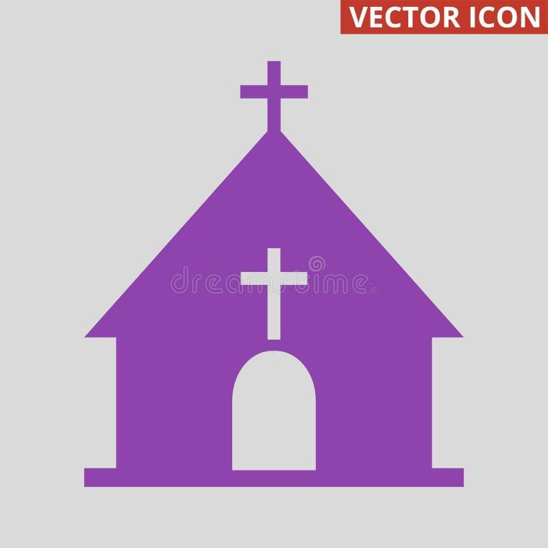 Kerkpictogram op grijze achtergrond stock illustratie