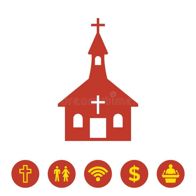 Kerkpictogram op witte achtergrond vector illustratie
