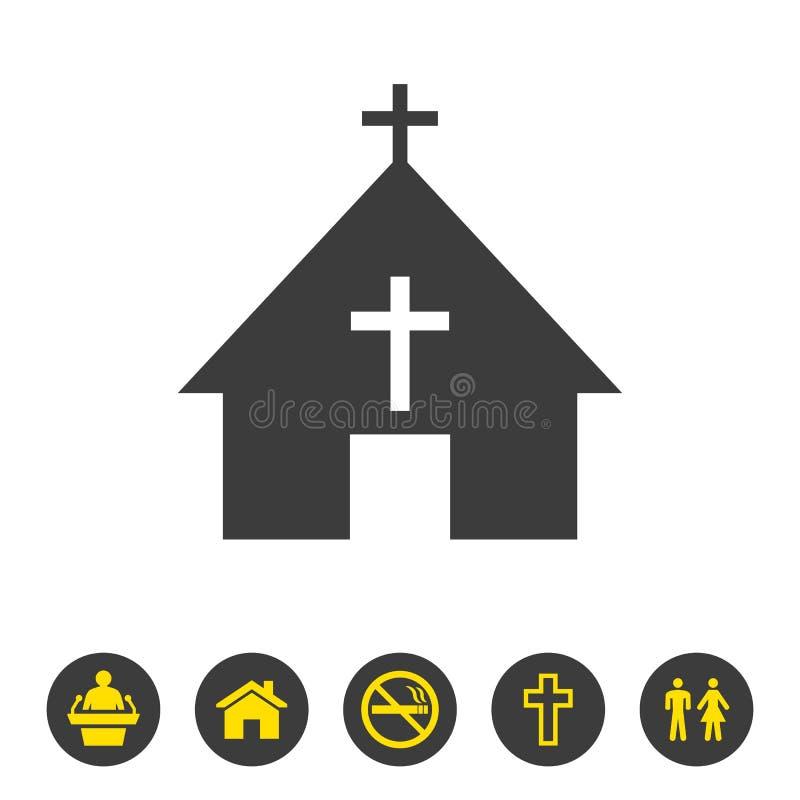 Kerkpictogram op witte achtergrond stock illustratie