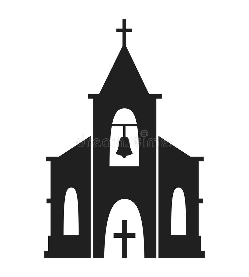 Kerkpictogram op witte achtergrond wordt geïsoleerd die royalty-vrije stock fotografie