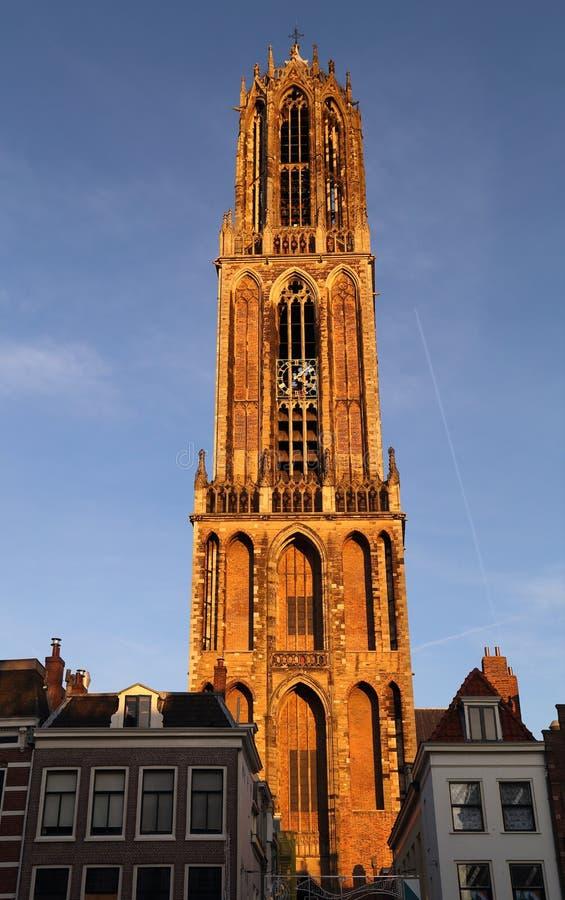 Kerktoren in Utrecht stock foto's