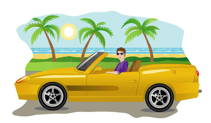 Kerl auf einem Luxusauto vektor abbildung