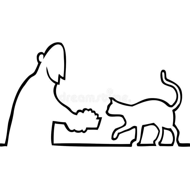 Kerl, der eine Katze speist lizenzfreie abbildung