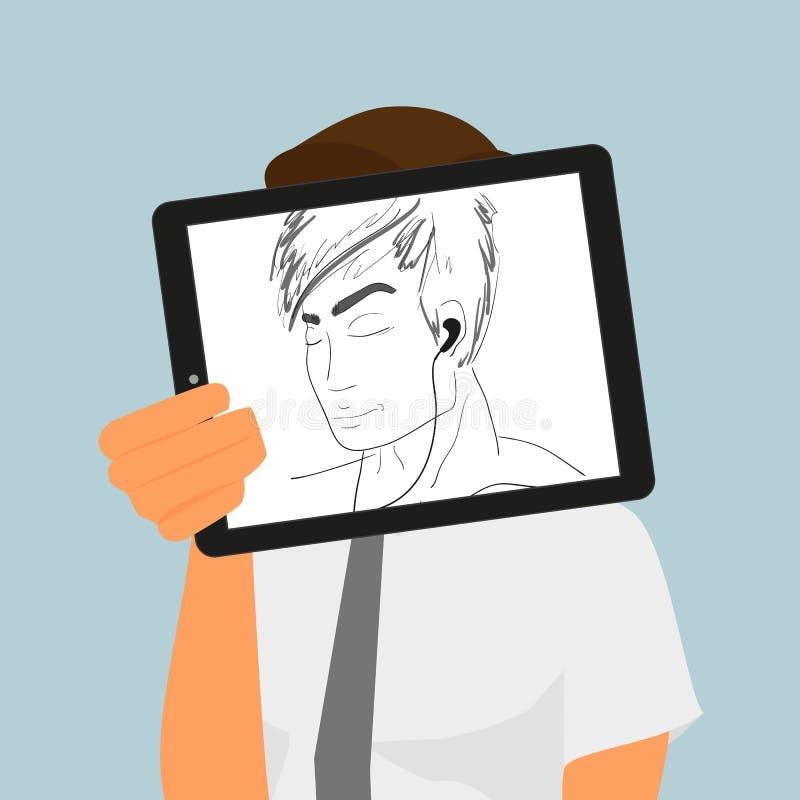 Kerl hält den Tabletten-PC, der Handzeichnung anzeigt stock abbildung