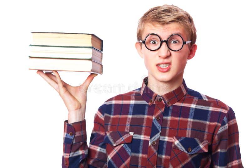 Kerl mit Büchern lizenzfreie stockbilder