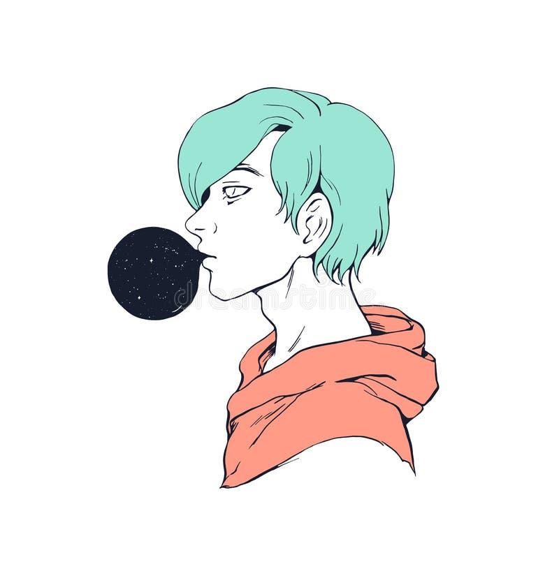Kerl mit bubblegum kreativem Illustrations-Druckentwurf lizenzfreie abbildung