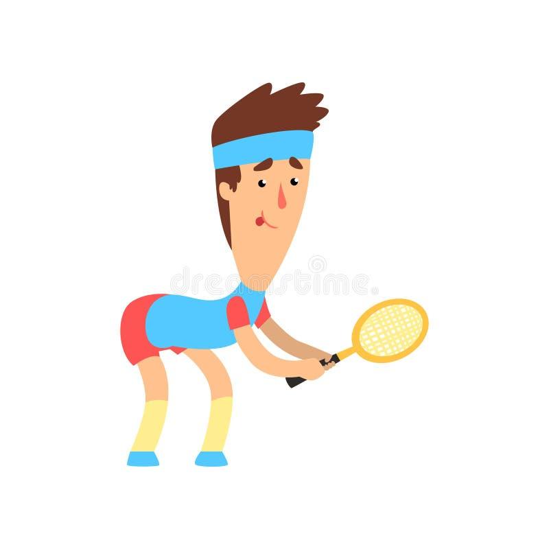 Kerl mit lustigem Gesicht mit dem Schläger in der Hand bereit, den Ball zu schlagen Junger Mann, der Tennis spielt Flaches Vektor lizenzfreie abbildung