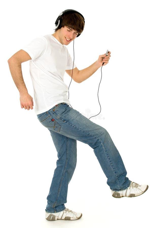 Kerl mit MP3-Player stockbild