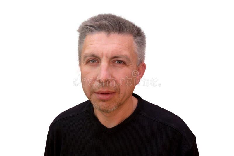 Kerl untersucht Kamera und schielende Augen Lokalisiertes volles gegenübergestelltes Porträt auf weißem Hintergrund Gefühl und Ge lizenzfreie stockfotos