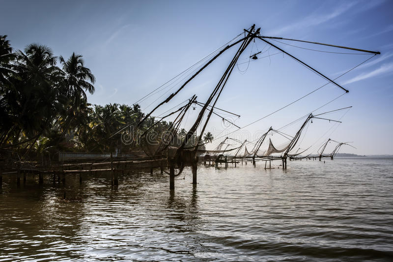 Kerla backwater with chinese fishing net stock photos