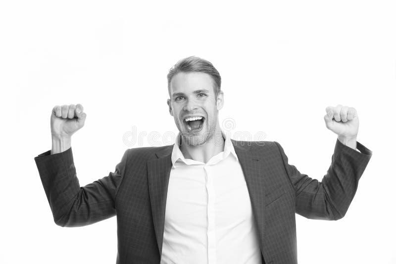 Kerlabendtoilette, die Erfolg schreit und feiert Glückliches emotionales Gesicht des Geschäftsmannes aufgeregt über Erfolg erfolg lizenzfreie stockfotografie