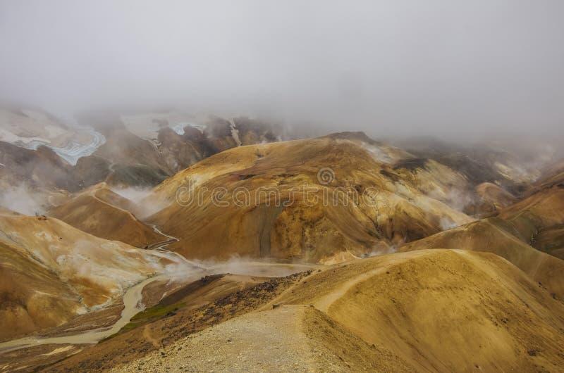 Kerlingarfjoll ou l'Ogress& x27 ; Les montagnes, une montagne volcanique ont fonctionné photographie stock