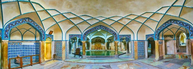 Panorama of Ganjali Khan Bathhouse, Kerman, Iran. KERMAN, IRAN - OCTOBER 15, 2017: Panorama of preserved bathing hall in Hammam-e Ganjali Khan, one of the most stock images