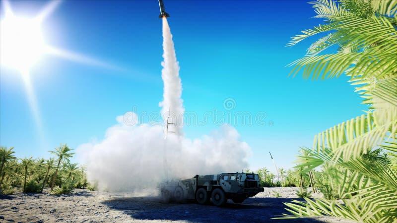 Kern ballistische complexe raket, Lanceringsraket, stof het 3d teruggeven royalty-vrije illustratie