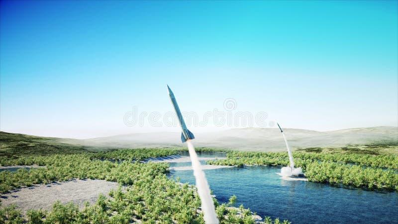 Kern ballistische complexe raket, Lanceringsraket, stof het 3d teruggeven stock illustratie