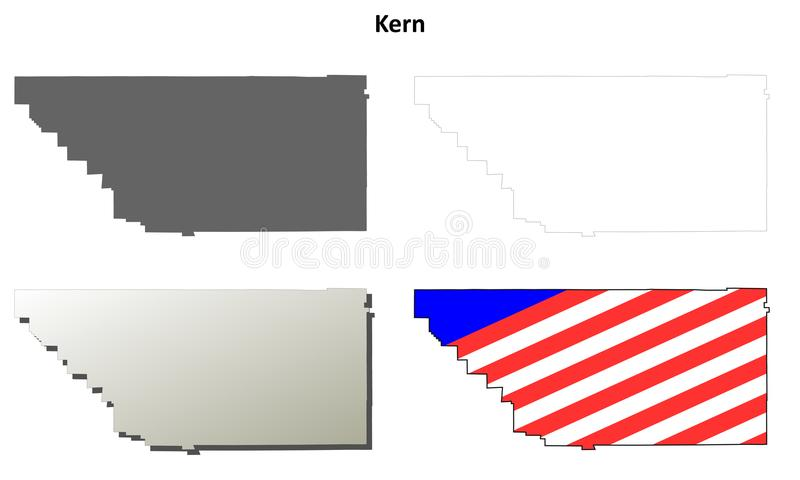 Download Kern County California Outline Map Set Stock Vector