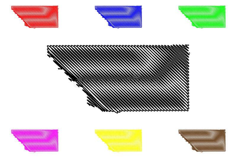 Kern County, de Provincies van Californi? in Californi?, de Verenigde Staten van Amerika, de V.S., U S , De kaart vectorillustrat vector illustratie