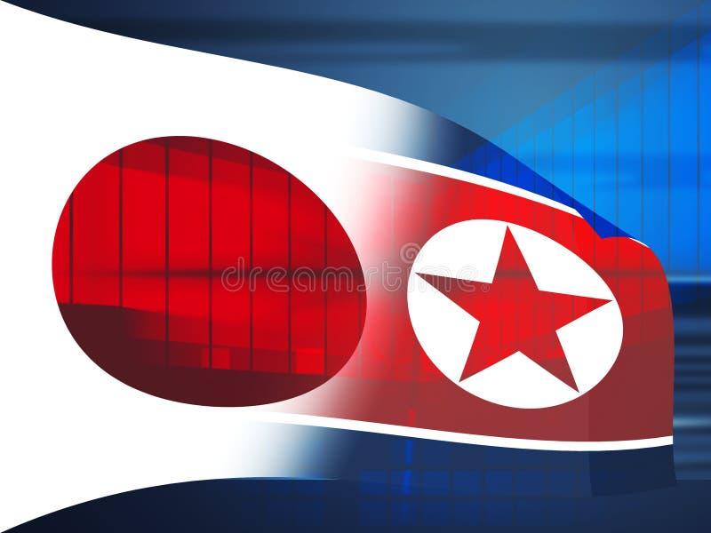 Kern de Crisis 3d Illustratie van Tokyo en van Noord-Korea Dprk royalty-vrije illustratie